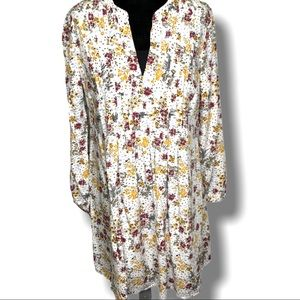 OLD NAVY FLORAL MINI DRESS/TUNIC PIN TUCK BODICE S